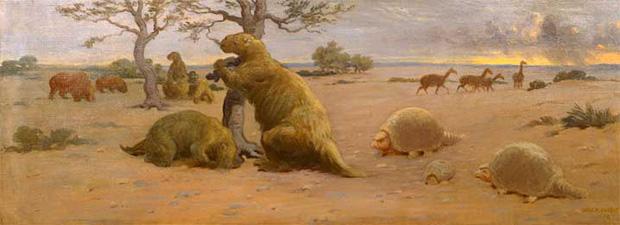 Megatherium_glyptodont_camels_